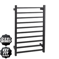 EZY FIT Heated Towel Rail - Square Tube - Dual Wired - (W600mm x H920mm) - Matte Black