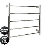 EZY FIT Heated Towel Rail - Round Tube - Dual Wired - (W750mm x H700mm) - Polished SS