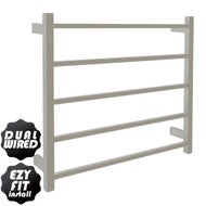 EZY FIT Heated Towel Rail - Square Tube - Dual Wired - (W750mm x H700mm) - Polished SS