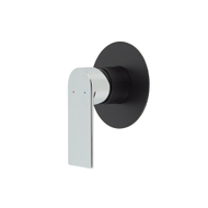 integrated inlet wall mounted shower and bath mixer matte black with chrome handle