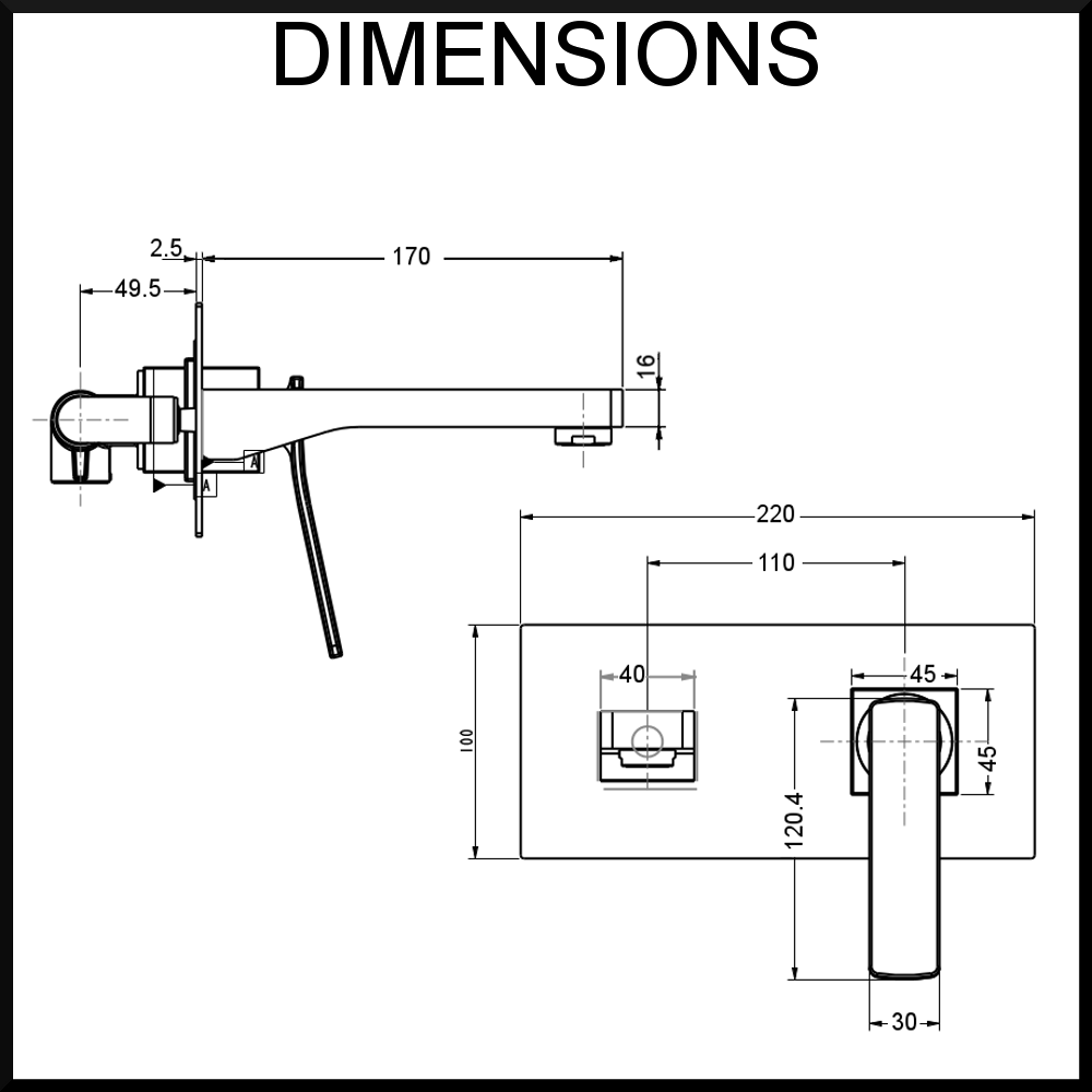 Dimensions Cortina Wall Mounted Mixer