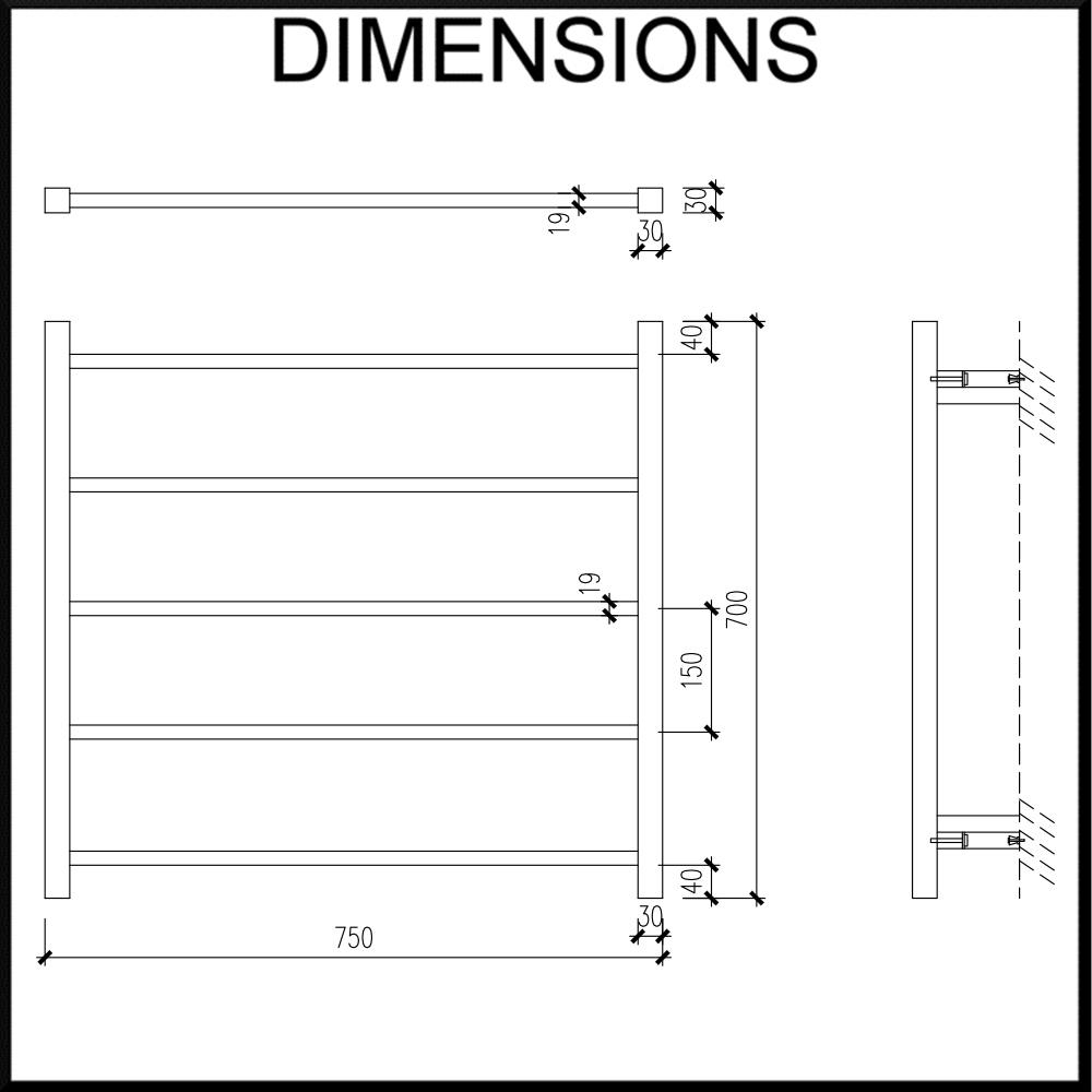 750mm wide heated towel rail dimensions