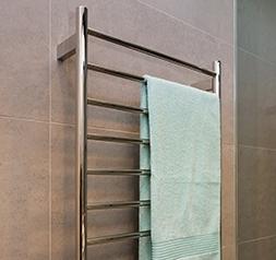 matte black heated towel rail, vertical heated towel rail, square heated towel rail, flat bars, round tube