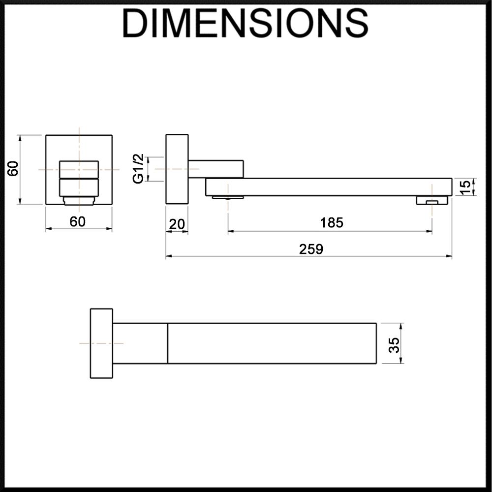 Aguzzo Square Wall Swivel Spout Dimension Specification Diagram